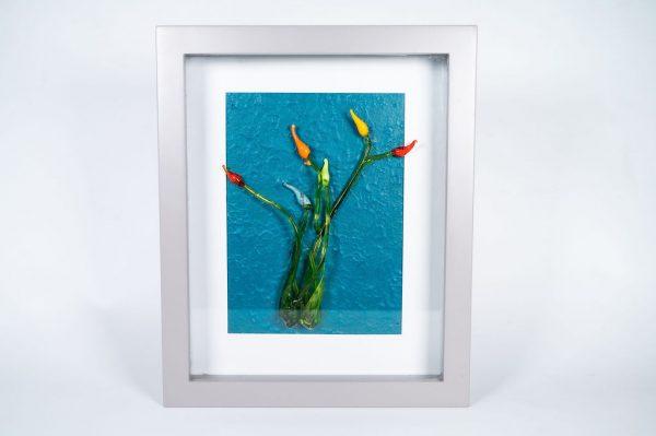 Colour glass flowers