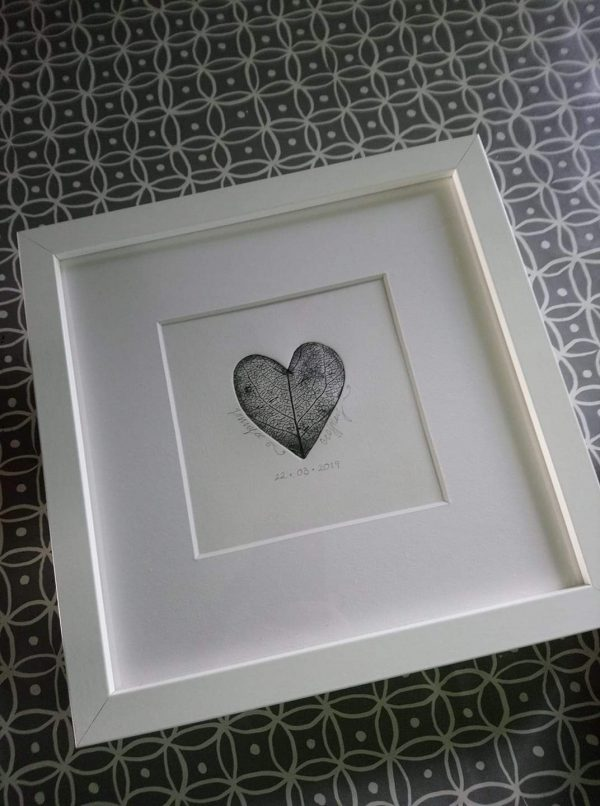 framed heart etching by Anne O'Donnell